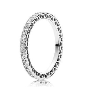 Оригинальные стерлингового серебра 925 Пандора кольца стекируемые Love Hearts с кристаллом Кольца для ювелирных изделий женщин Свадеб подарков Европа моды