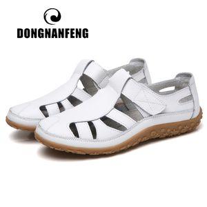 DONGNANFENG Frauen-Damen Weibliche Mutter echtes Leder Schuh Sandalen Gladiator Sommer-Strand-kühle Höhle weiche Hook Schleife LLX-9568