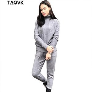 TAOVK Soft Knitted Suits warm sweater suit Women's Twist knitting turtleneck sweater top and pants Loose Style tracksuit ropa CX200702