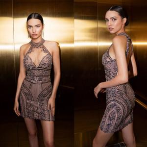 2020 Julie Vino Guaina abiti da sera Halter Sequines Appliques Lace Mini Prom Dresses lunghezza del ginocchio del partito abiti