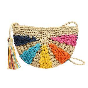 2019 Half Moon Bags Ladies Straw Tassel Summer Woman Messenger Bag Bolsas de paja Handbag Beach Woven Bag #Zer
