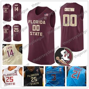 Estado Seminoles Florida Personalizado Qualquer Nome Número Costurado Vermelho Ouro Preto Branco 2019 FSU NCAA Faculdade Basquete Jerseys # 4 Ty mãos