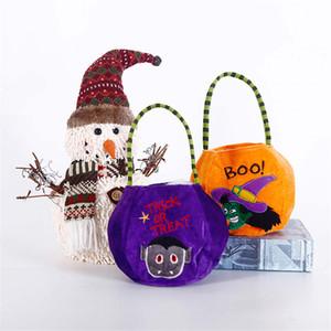Halloween décoratif Props enfants Portable Bonhomme de neige citrouille Lantren panier-cadeau Panier Sac bonbons ou Treat Trick seau Sac