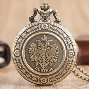 Emblema nacional antigo áustria a dupla águia das mulheres dos homens relógio de bolso de quartzo cadeia colar de presente reloj de bolsillo
