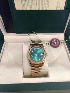 Con scatola originale di lusso 36 millimetri 18k orologi moda superiore Oro giallo verde quadrante dell'orologio da polso 18038 Uomo Automatic Watch