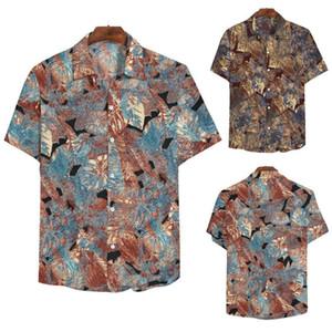 Erkek Casual Gömlek Artı Boyutu Erkekler Gömlek Retro Fashio Dikey Yaz Moda Yaka Baskı Kısa Kollu Üst Bluz Marka Giyim