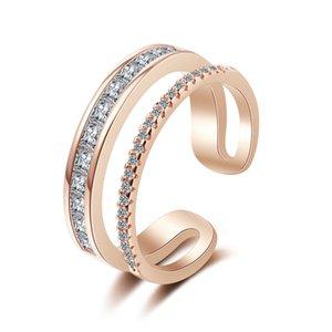 큐빅 지르콘 오픈 링 선물 여성 쥬얼리 패션 웨딩 약혼 반지 클래식 여성 여성 손가락 액세서리 X319