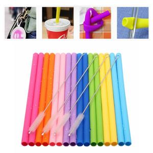 Süßigkeit-Farben-Silikon Stroh Set mit Box Hohe Temperaturbeständigkeit Silikon mit Reinigungsbürste Trinken im Freien Protable Straw HHA821