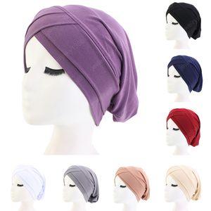 Frauen Haarausfall Schal Elastic Lady Cancer Chemo Cap Muslim Turban Hat Arab-Kopf-Verpackungs-Abdeckung Beanie Kopfbedeckung Skullies Solid Color