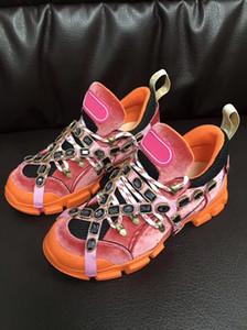 Kadife Flashtrek Sneaker Erkekler Kadınlar Rahat Ayakkabılar Tasarımcı Bayan Flashtrek Deri Sneaker Erkekler Düşük Üst Dantel-Up Platform ayakkabı Ile Kristaller