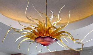 Муранского стекла декоративный цветок Люстра Италия Светодиодные лампы ручной работы выдувное стекло Art Люстра Освещение