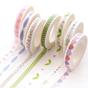 Ofis Yapışkan 0.7cm * 10m Dar Yapraklar ince sınır yapışkan bant etiket etiket maskeleme planlayıcısı scrapbooking DIY dekorasyon Washi