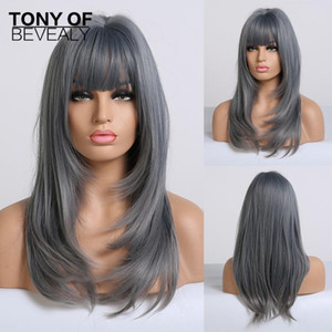 Long Wavy Ombre Blue Wigs Heat Resistant Synthetic Wigs With Bangs For African American Women Coaplay Natural Hair