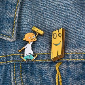 Ahşap Yaka Rozeti Takı Happy Hour Jonny Plank Emaye Pim Karikatür Broş aksesuarları Sarı Hunk