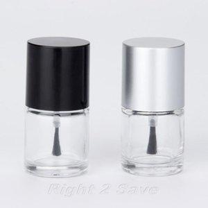 1PC frasco 10ml Nail Polish com escova recarregáveis vazio prego Frasco cosmético Containor da arte do vidro Ferramenta Manicure Preto Prata Caps