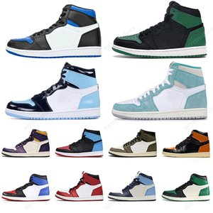 Nike Air Jordan 1 High OG UNC Banned Scarpe da pallacanestro SPIDERMAN 1s Phantom Pine Green Court Viola TURBO GREEN MULTI-COLOR Sneakers taglia 36-45