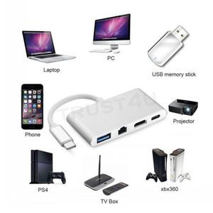 Adaptador Hub USB 4 en 1-C USB 3.1 Tipo C a HDMI 4 K + Gigabit Ethernet RJ45 + USB 3.0 Multilport Digital Video Converter