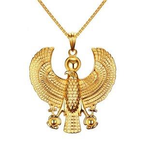 Gemstone Eagle pendentif collier en acier inoxydable lien chaîne collier bijoux cadeau de couleur pour les hommes hommes J676