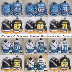 Pittsburgh طيور البطريق CCM خمر الفانيلة 66 Lemieux 71 Malkin 87 Crosby 35 Barrasso 68 Jagr Men's Hockey Jersey