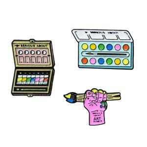 Fashion Brush Paint Metal Enamel Brooch Creative Cartoon Drawing Board Badge Pin Cute Glamour Painter Art Raw Clothing Jewelry zdl0529.