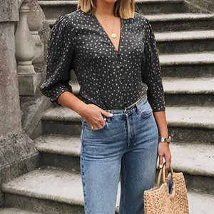 5XL Celmia Women Sexy V-neck Dot Printed Blouse 2019 Summer Tops Casual Shirts Buttons Loose Office Work Ladies Blusas Plus Size