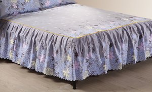 1 Piece Bed skirt bed sheets King Queen Twin size Grey bed sheet bedding Lace mattress cover Bedspread15