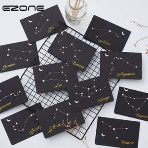 EZONE Constellation Greeting Card+Envelope Sets Business Birthday Wedding Greeting Gift Message Black paper Creative Stationery