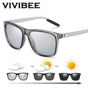 Quadro VIVIBEE Alterar cor cinza fotossensíveis óculos polarizados Men Square Classic Chameleon Glaases Transição Lens Óculos