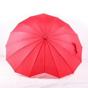 Parasol romantique en forme de coeur rouge long manche pour le mariage Photo Props cadeau de Saint Valentin