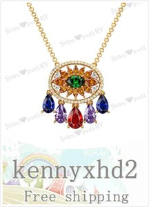 New Korean luxury retro palace pendant color gem necklace
