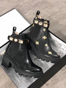 Lo nuevo del cuero Mujeres Nobel Plataforma Desert Boot Martin botas Rastro de estrella con cordones de zapatos de tacón alto bota del tobillo Invierno de arranque 24 Colores