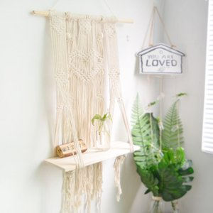 MACRAME WALL HANGING SHELF HAND WOVEN HANGING PLANT HOLDER WALL TAPESTRY FOR HOME DECORATION Dropshipping
