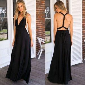 Женские платья без рукавов Backless высокой талией Side щелевая Maxi платье невесты Формальные Длинные Сарафаны Женская одежда