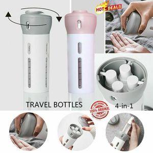 4 in 1 Travel Organizer Dispenser Outdoor Shower Gel Bath Shampoo Storage Bottle Camping Bottles