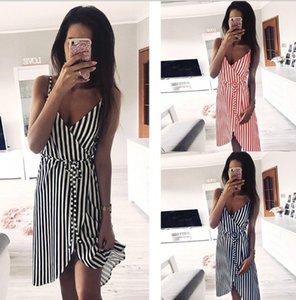 2019 дизайнерское летнее женское платье горячая распродажа уличная одежда мода печать полосатые ремни женское платье с 3 цветами Азиатский размер S-XL оптом