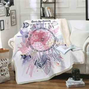 Wholesale Digital 3D Printed Blanket Air Conditioning Quilt Thickening Double Plush Dream Catcher Pattern Series Blanket MT0007