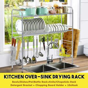 Single / Double Tier über das Waschbecken Dish Wschetrockner Halter Regal Drainer-Speicher-Organisator Küche 65cm / 85cm Y200429