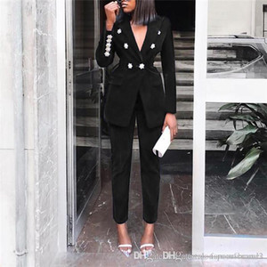 Ladies Casual Blazer Solid Color Suit Two Piece Suit Slim Fit Double Breasted Long Sleeve Blazers