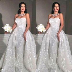 2020 Arabisch Glitter Mermaid Brautkleider mit abnehmbarer Zug trägerlosen Voll Sequin Plus Size Overskirt Land Brautkleider