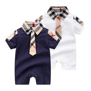 barboteuse 2020 cotto INS nouveaux styles chauds manches pour enfants d'été à carreaux imprimé revers courts enfants homme de coton de haute qualité barboteuse 2 couleurs