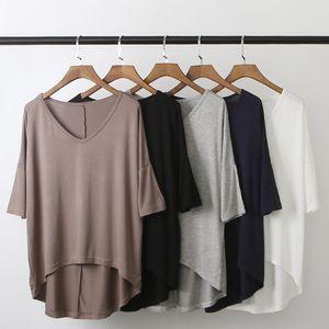 Плюс размер футболка модальная Летучая мышь рукав футболка Женская повседневная V-образным вырезом твердые большие базовые женские топы и блузки Бесплатная доставка