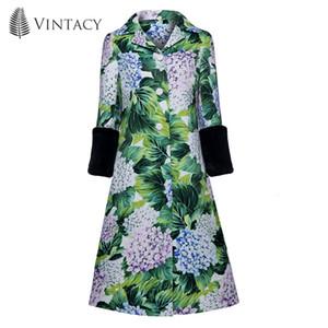 Vintacy 여성 외투 가을 모직 코트 녹색 인쇄 공장 꽃 겉옷 노치 라펠 2019 최고 패션 겨울 코트 여성 Y191102