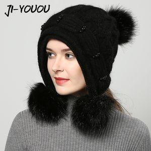JIYOUOU зимние шапок для женщин Bomber шляп ручной работы 2017 года новых женщин шлем красного трикотажными помпонных Сплошных цвета gorros колпачок