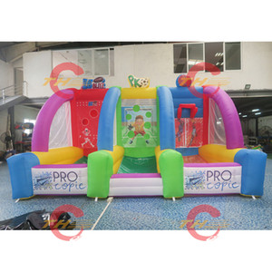 3 in 1 inflatable carnival game, inflatable football soccer ball shooting game, inflatable basketball tossing game