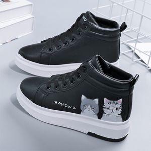 Mulheres Winter Sneakers Feminino Gato Bonito Com Plush Plano Mulher Lace Up High Top Senhoras quentes vulcanizados Sapatos de mulheres brancas Shoes