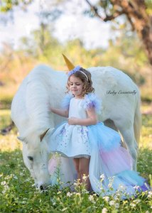 Robe de demoiselle Fluffy Noël magnifique Princesse Licorne Backless longue queue robe de mariée Kid pageant Halloween licorne cosplay costume