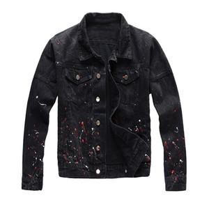 Para hombre del diseñador único pintado Denim Jackets rasgado Moda Slim Fit Streetwear motorista de la motocicleta Epaulet tejanos capa de la chaqueta 421