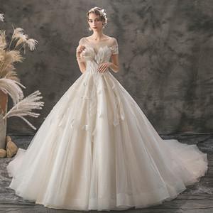 2019 ABD tarzı sıcak açıkça gelinlik sırf geri, mücevher kristal canım yular büyük kat uzunlukta dantel Çar elbise