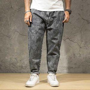 44 46 dos homens de jeans Plus Size Stretchy soltos cônicos Harem Jeans algodão respirável Denim Baggy Jogger Calças Casual