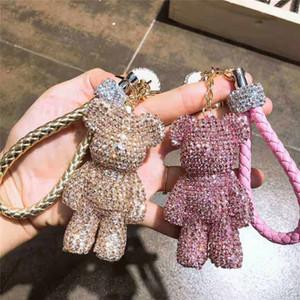 Роскошный медведь брелок со стразами дизайнер брелок с кожаный шнур кисточкой мода женщины сумка аксессуары